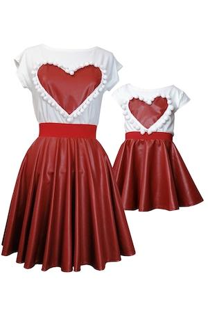 Set mama/ fiica fuste imitatie piele rosu/caramiziu +bluze , marimea M si 3/4 ani