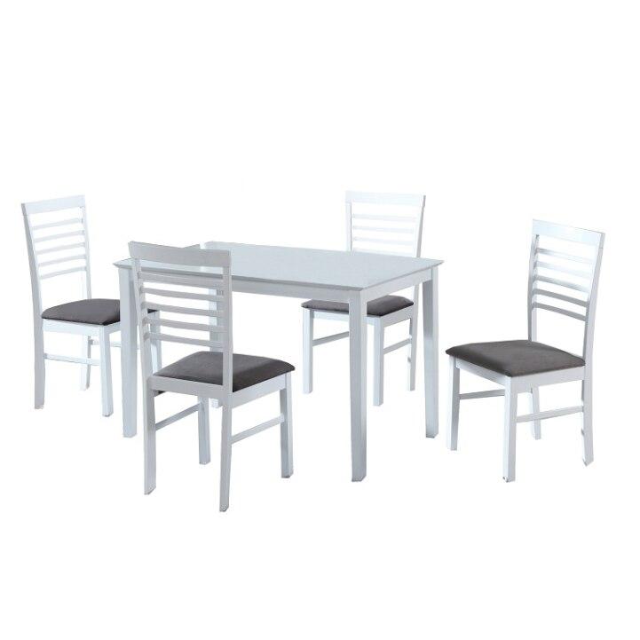 Hagora Étkezőgarnitúra 4 személyes étkezőasztal székekkel, Fehér szürke eMAG.hu