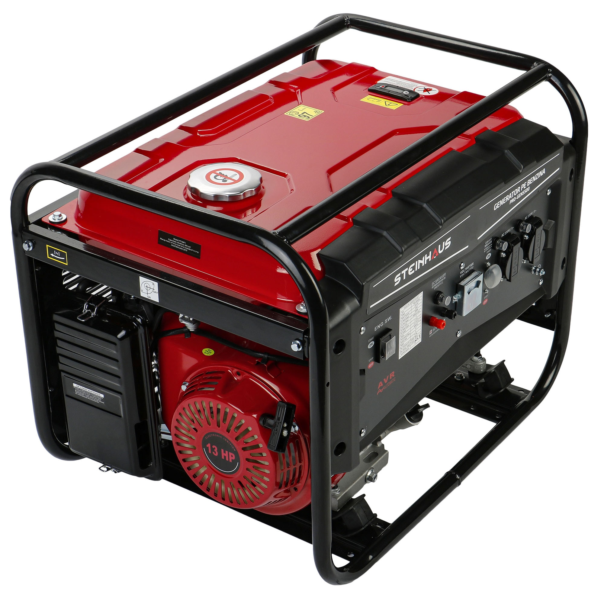 Fotografie Generator curent electric Steinhaus PRO-GEN5500, 5500 W cu stabilizator de tensiune, benzina, autonomie 11 h