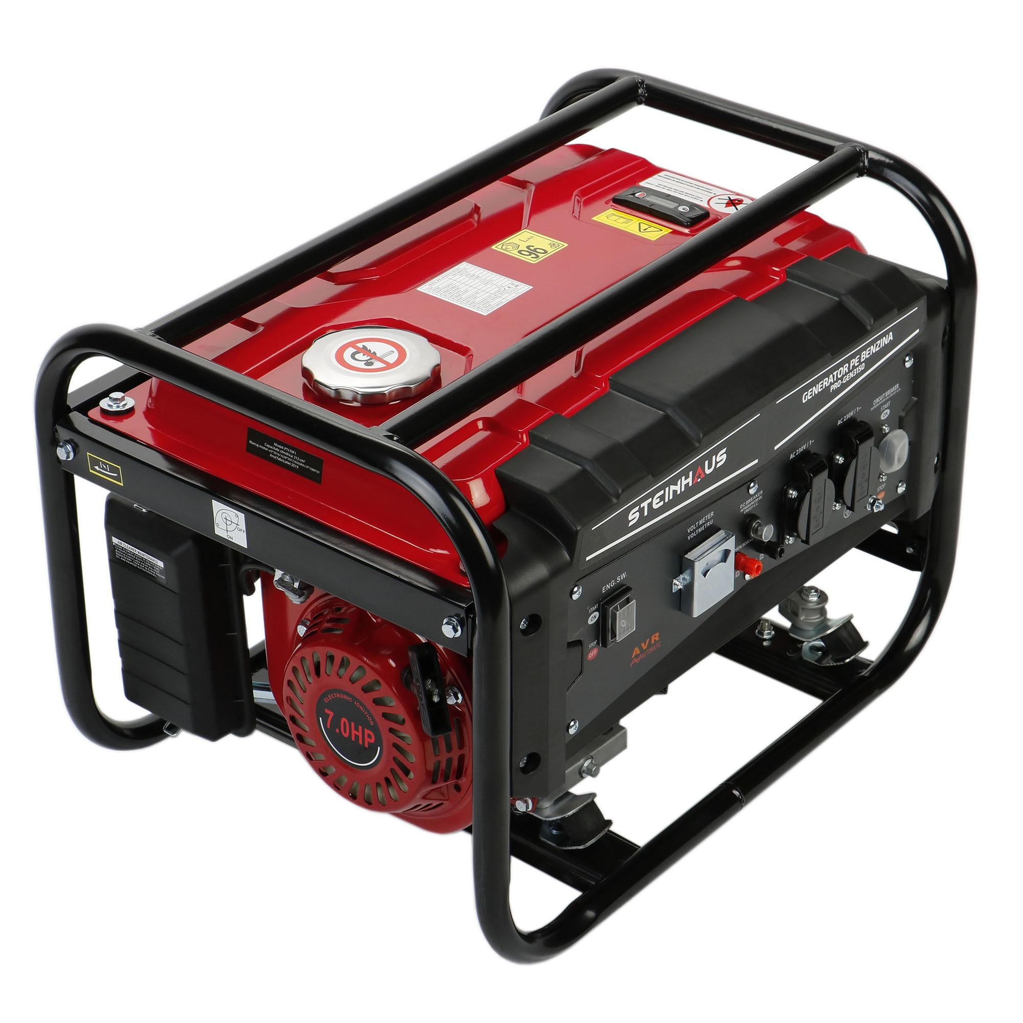 Fotografie Generator curent electric Steinhaus PRO-GEN3150, 3150 W cu stabilizator de tensiune, benzina, autonomie 9.8 h