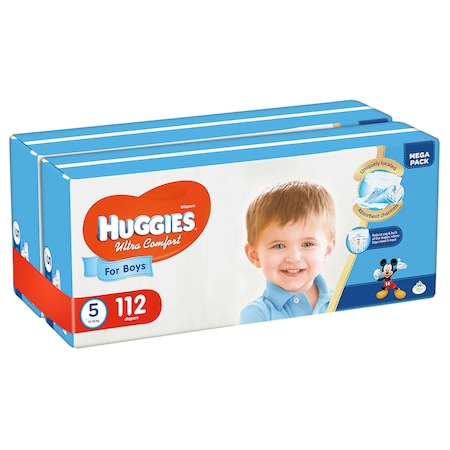 Scutece Huggies Ultra Comfort Virtual Pack 5, Boy, 12-22 kg, 112 buc