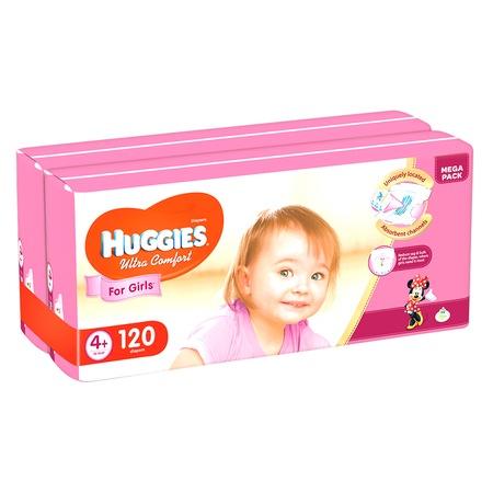Пелени Huggies Ultra Comfort Virtual Pack 4+, Girl, 10-16 кг, 120 бр