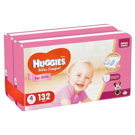 Пелени Huggies Ultra Comfort Virtual Pack 4, Girl, 8-14 кг, 132 броя