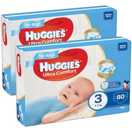 Пелени Huggies Ultra Comfort Virtual Pack 3, Boy, 5-9 кг, 160 броя