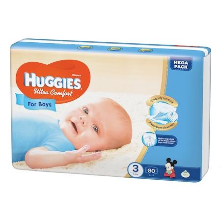 Пелени Huggies Ultra Comfort Mega Pack 3, Момчета, 5 - 9 кг, 80 броя