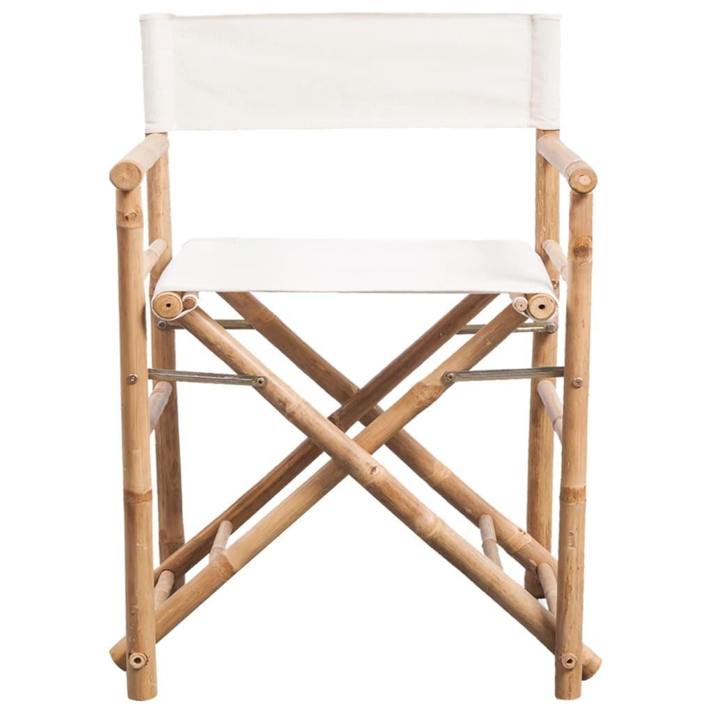 vidaXL 2 db összecsukható bambusz és szövet kerti szék