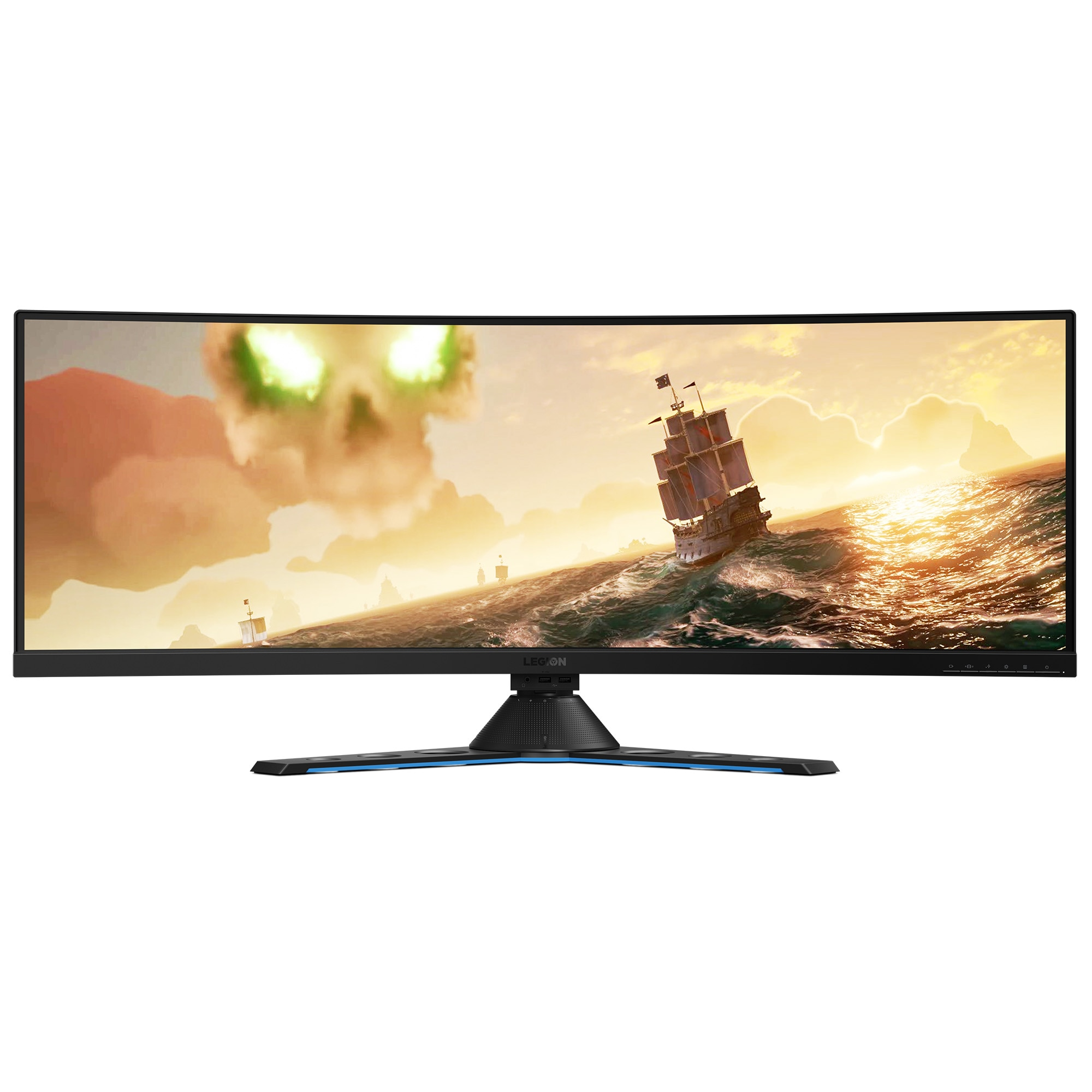 "Fotografie Monitor Gaming LED VA Lenovo Legion 43.4"", Ultra wide 32:10, 144 Hz , FreeSync2, Display Port, Soundbar Harman Kardon, USB 3.1 Type-C, Negru, Y44w-10"