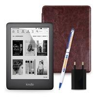 Комплект: eBook четец Kindle (2019), Черен + Калъф Classic, Кафяв