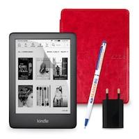Комплект: eBook четец Kindle (2019), Черен + Калъф Classic, Червен