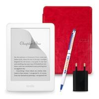 Комплект: eBook четец Kindle (2019), Бял + Калъф Classic, Червен