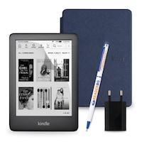 Комплект: eBook четец Kindle (2019), Черен + Калъф Slim, Тъмносин