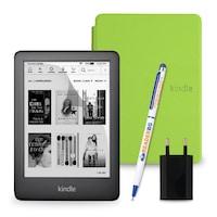 Комплект: eBook четец Kindle (2019), Черен + Калъф Slim, Зелен