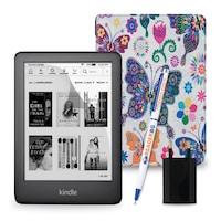 Комплект: eBook четец Kindle (2019), Черен + Калъф, Пеперуди