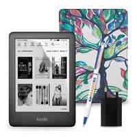 Комплект: eBook четец Kindle (2019), Черен + Калъф, Дърво
