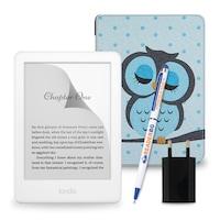 Комплект: eBook четец Kindle (2019), Бял + Калъф, Бухал