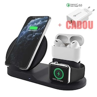 Statie de incarcare universala, 18w QI Fast Wireless charger 3in1, Type-C compatibil cu iPhone 11, Xs Max, XR, 8, 8Plus, LG, Samsung S10 S9 + Note 8, Apple iWatch Series 1,2,3,4,5 AirPods Pro, Negru, brand Joyon