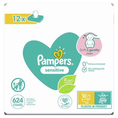 Pampers Sensitive Nedves törlőkendő, 12 csomag x 52 db, 624 darab