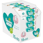 Мокри кърпички Pampers Sensitive, 15 пакета x 80, 1200 броя
