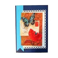 Картичка 3D с пеперуда, жена, рожден ден, имен ден, юбилей, сватба, 110 x 160 мм
