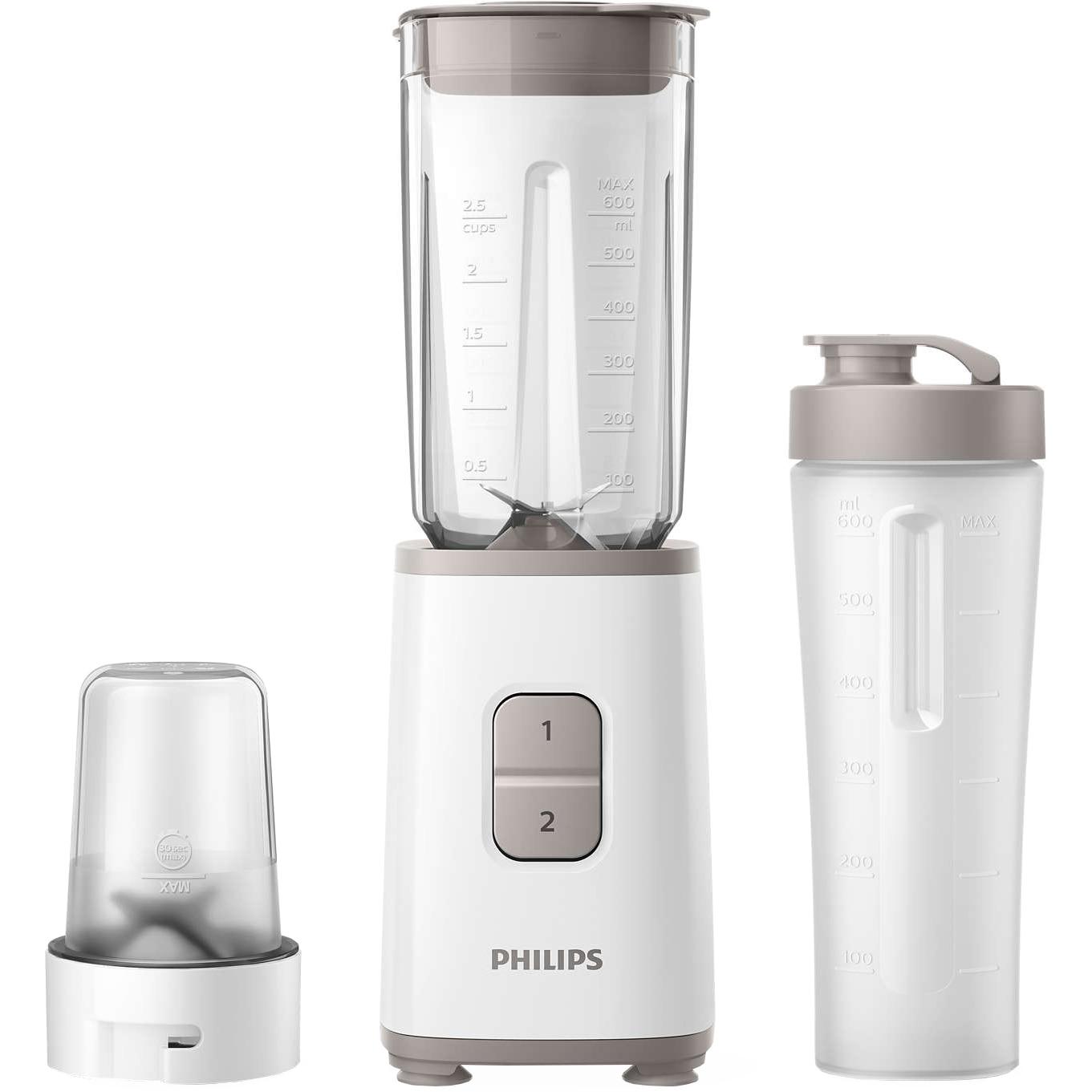 Fotografie Mini blender Philips HR2603/00, 350 W, 1 L, 2 viteze, recipient on-the-go, multitocator, Alb