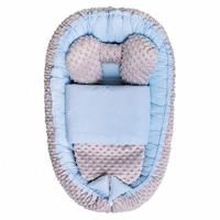 Belisima Babafészek paplannal kisbabák számára Minky Sweet Baby kék CA35301