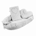 New Baby Luxus babafészek párnával és paplannal Szívecske szürke CA39072