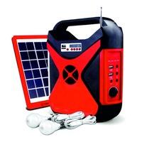 Преносим соларен фенер LIGHTEX с радио,с 2 лампи х3W ,USB port, SD карта и с изходи USB + 5V