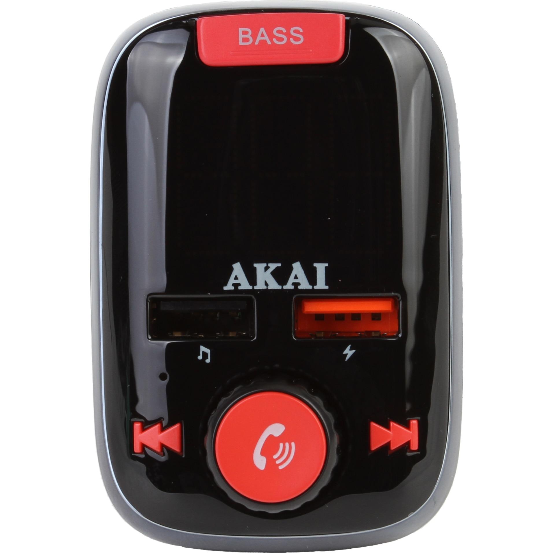 Fotografie Modulator FM Akai FMT-74BT cu bluetooth , TF Card , AUX in/out, 2 x USB, functie player MP3