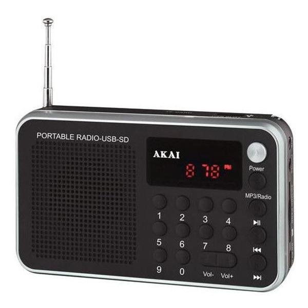 Fotografie Radio portabil AKAI DR002A-521B , cu USB slot , SD/MMC/TF card slot ,antena FM telescopica , baterie reincarcabila , functie ceas alarma