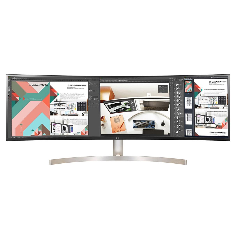 """Fotografie Monitor curbat LED IPS LG 49"""", UltraWide Dual QHD, DisplayPort, USB-C, HDR 10, Vesa, Alb, 49WL95C-W"""