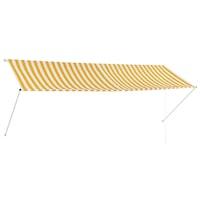 Прибиращ се сенник с падащо рамо vidaXL, райе, жълто и бяло, 350x150 см