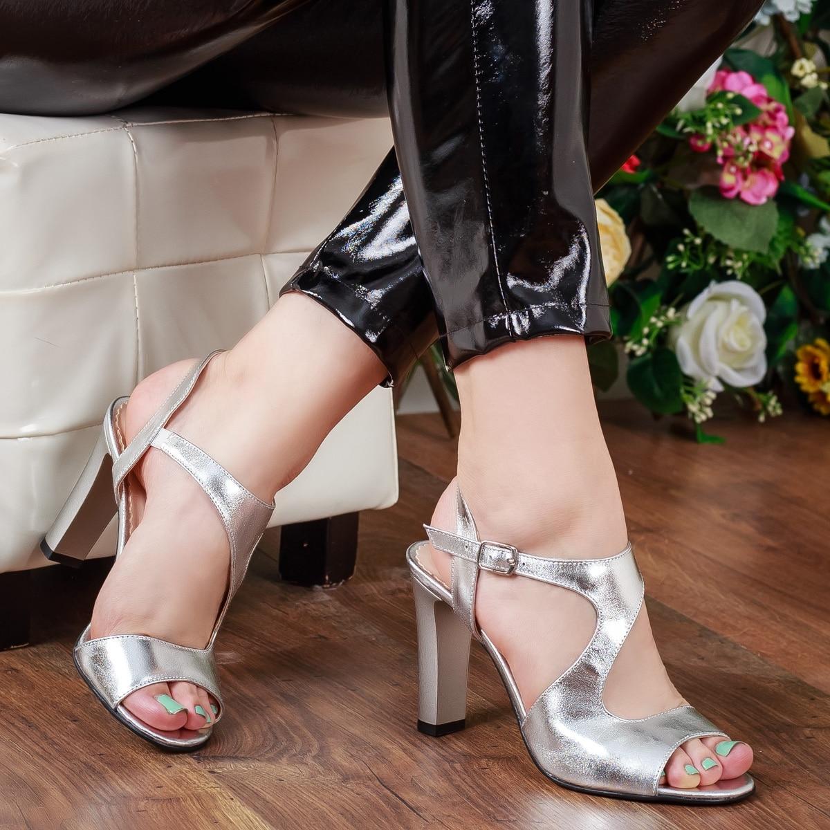 cumpara online cumpara cel mai bine oficial Sandale Piele Rachana argintii cu toc, 37, Argintiu, Piele naturala -  eMAG.ro