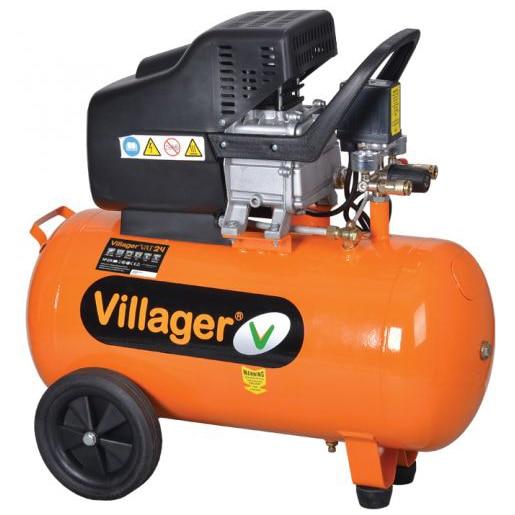 Fotografie Compresor Villager VAT 50 L, 1500 W, 230 V, 50 l capacitate rezervor, 206 l/min debit maxim, 8 bar presiune lucru, 32 kg