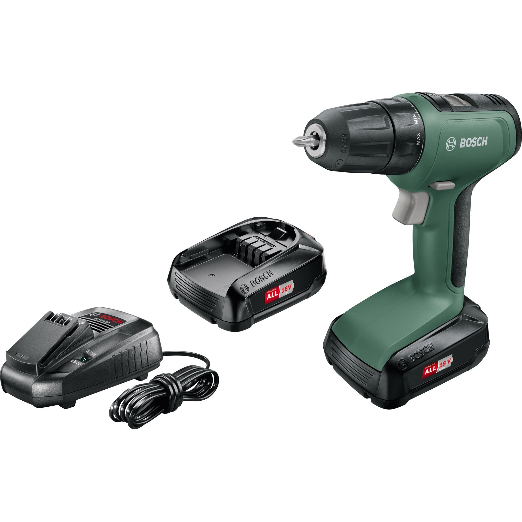 Fotografie Masina de gaurit si insurubat (bormasina) pe acumulator Bosch UniversalDrill 18, 18 V, 1.5 AH, 1450 RPM, 30 Nm, accesorii incluse