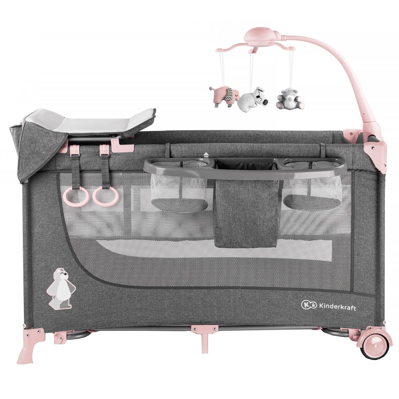 Fotografie Patut pliant Kinderkraft Joy, 2 nivele si accesorii, Gri/Roz