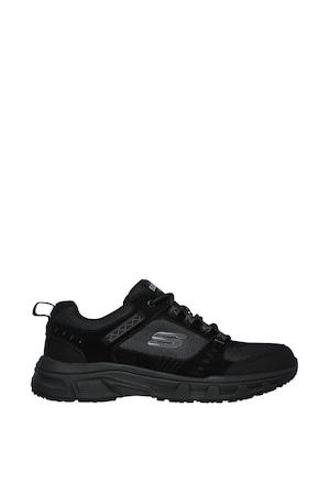 Skechers, Oak Canyon Relaxed Fit® nyersbőr sneaker textilbetétekkel, Fekete, 39.5
