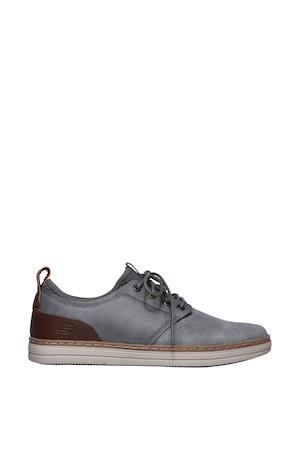 Skechers, Heston-Rogic párnázott cipő bevontbőr részletekkel, Szürke, 40