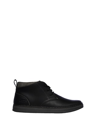 Skechers, Heston bevont bőr cipő, Fekete, 47.5
