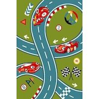 Детски килим Kamko Play с писта, зелен, 240х340