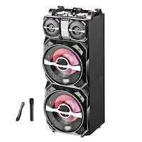 Boxa profesionala activa portabila AKAI, 700W, MixerDj, Karaoke, 2 x Mic IN, 2 x Bluetooth, 2 x USB, Radio FM, 2 x AUX In, 2 x SD Card, Lumini LED, Microfon wireless, Telecomanda