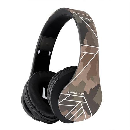 PowerLocus P2 Bluetooth fejhallgató, vezeték nélküli fül köré illeszkedő összehajtható, micro SD, FM Rádió - Terepmintás