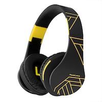 PowerLocus P2 Bluetooth fejhallgató, vezeték nélküli fül köré illeszkedő összehajtható, micro SD, FM Rádió - Fekete/ Sárga