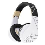 PowerLocus P2 Bluetooth fejhallgató, vezeték nélküli fül köré illeszkedő összehajtható, micro SD, FM Rádió - Fekete-Fehér