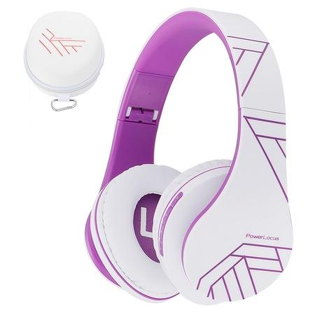 PowerLocus P2 Bluetooth fejhallgató, vezeték nélküli fül köré illeszkedő összehajtható, micro SD, FM Rádió - Lila
