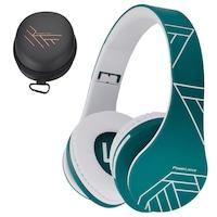 PowerLocus P2 Bluetooth fejhallgató, vezeték nélküli fül köré illeszkedő összehajtható, micro SD, FM Rádió - Kék