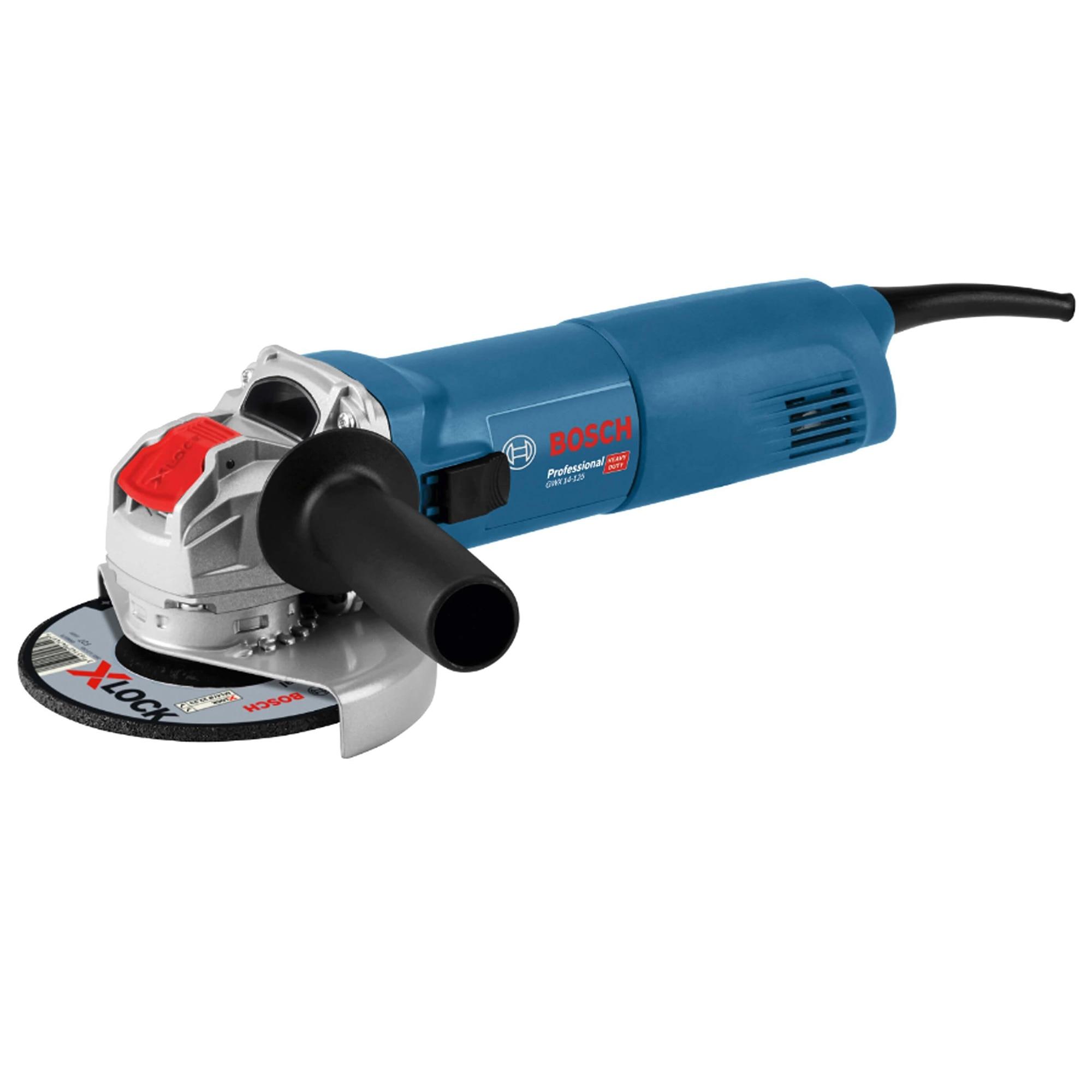 Fotografie Polizor unghiular Bosch Professional X-Lock GWX 14-125, 1400 W, 11.000 RPM, 125 mm diametru disc + cutie + maner auxiliar + aparatoare de protectie