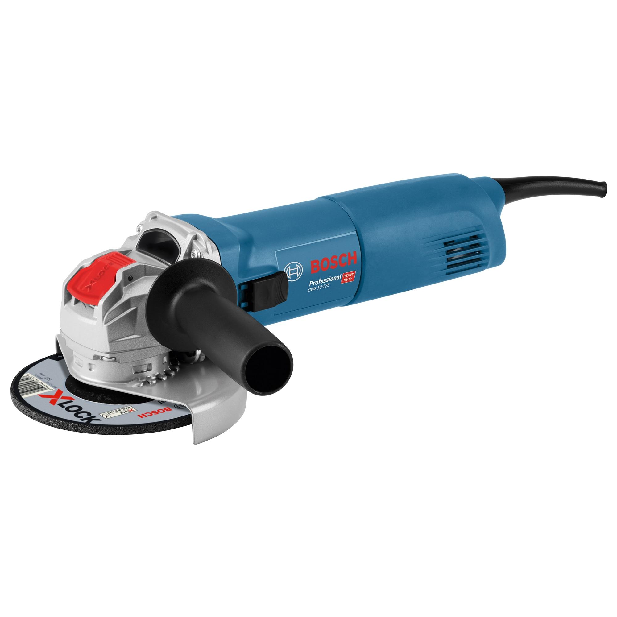 Fotografie Polizor unghiular Bosch Professional X-Lock GWX 10-125, 1000 W, 11.000 RPM, 125 mm diametru disc + cutie + maner auxiliar + aparatoare de protectie