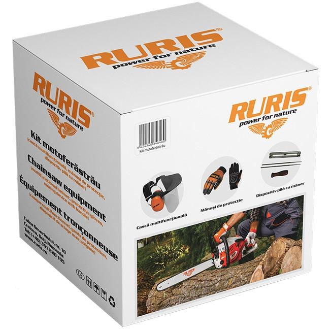 Fotografie Kit protectie Ruris 14923519, pentru utilizare motoferastrau, casca multifunctionala, manusi, dispozitiv pila cu maner