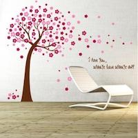 Декоративни стикери Дърво с розови цветя BV 108STK, 150 cm
