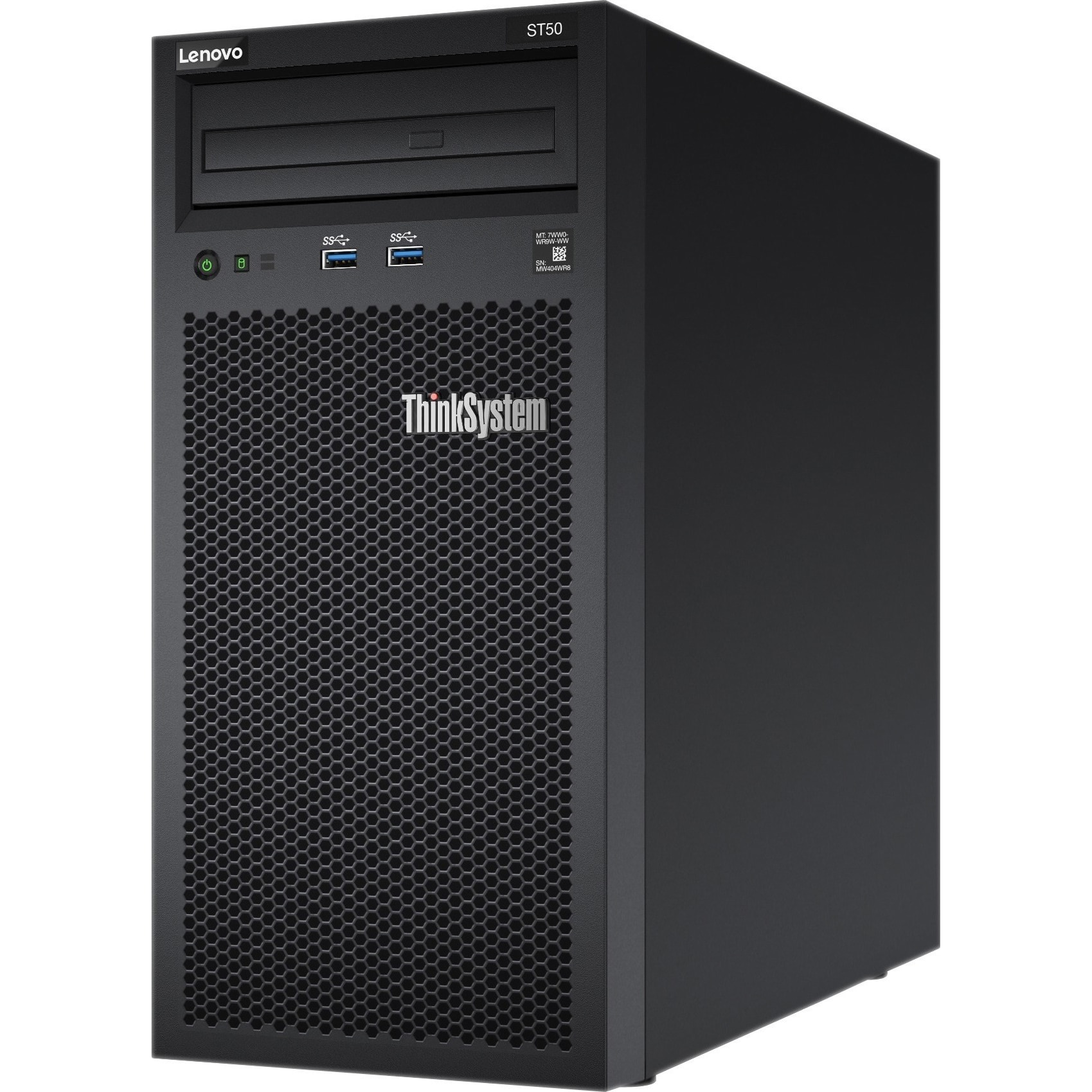 Fotografie Sistem Server Lenovo ST50 Xeon E-2144G (4C 3.6GHz 8MB Cache/71W), 8GB RAM, 2x1TB SATA HDD, DVD RW, Gigabit Ethernet- Integrated 1 port Power Supply 250W